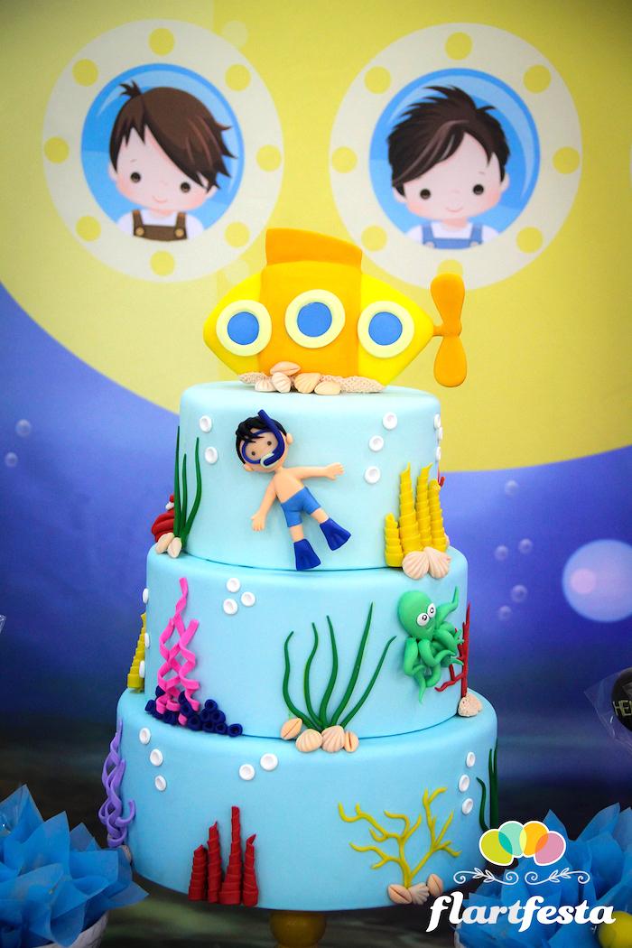 Yellow Submarine Cake from a Yellow Submarine Ocean Birthday Party on Kara's Party Ideas | KarasPartyIdeas.com (10)