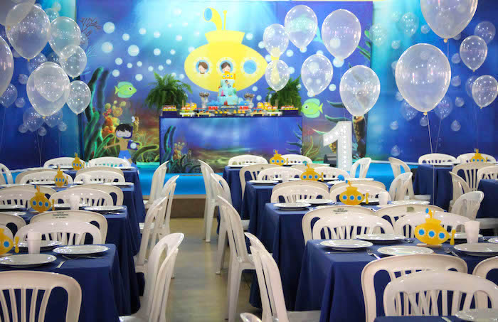 Partyscape from a Yellow Submarine Ocean Birthday Party on Kara's Party Ideas | KarasPartyIdeas.com (9)