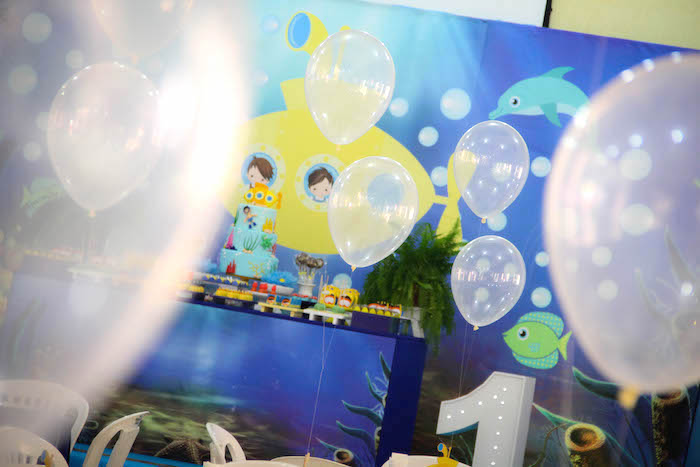 Floating balloon bubbles from a Yellow Submarine Ocean Birthday Party on Kara's Party Ideas | KarasPartyIdeas.com (8)