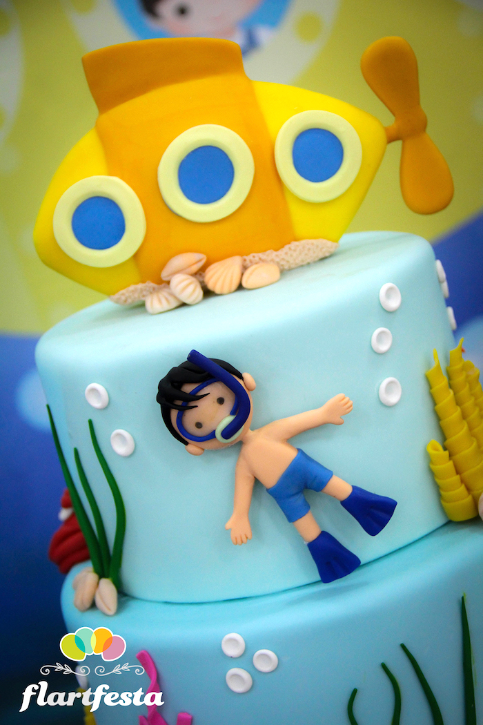 Cake detail from a Yellow Submarine Ocean Birthday Party on Kara's Party Ideas | KarasPartyIdeas.com (7)