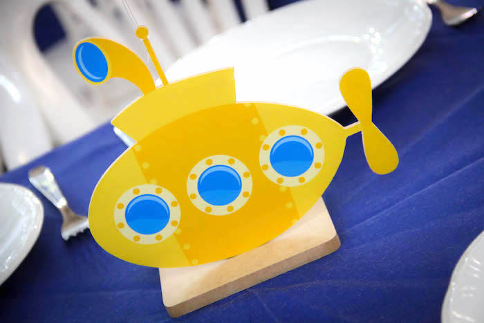Yellow Submarine Centerpiece from a Yellow Submarine Ocean Birthday Party on Kara's Party Ideas | KarasPartyIdeas.com (6)