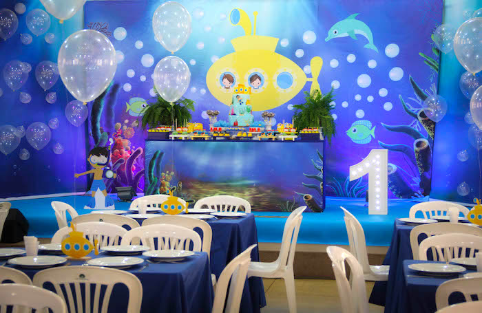 Guest tables from a Yellow Submarine Ocean Birthday Party on Kara's Party Ideas | KarasPartyIdeas.com (26)