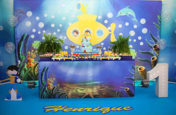 Dessert table from a Yellow Submarine Ocean Birthday Party on Kara's Party Ideas | KarasPartyIdeas.com (25)