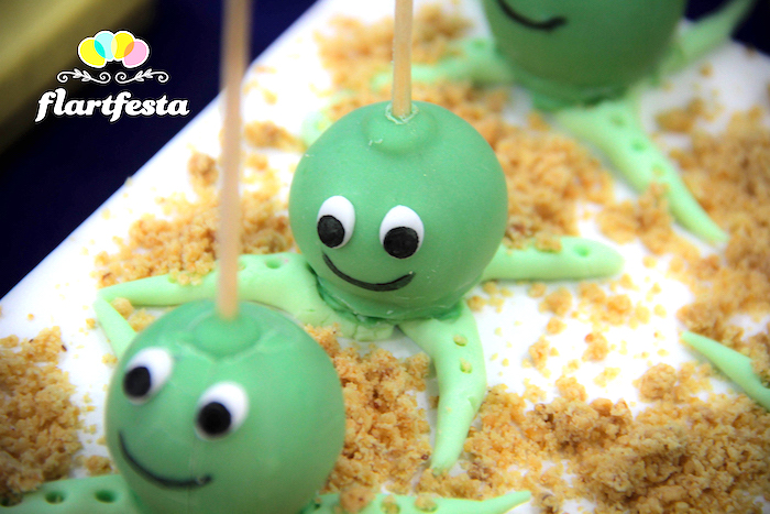 Octopus cake pops from a Yellow Submarine Ocean Birthday Party on Kara's Party Ideas | KarasPartyIdeas.com (23)