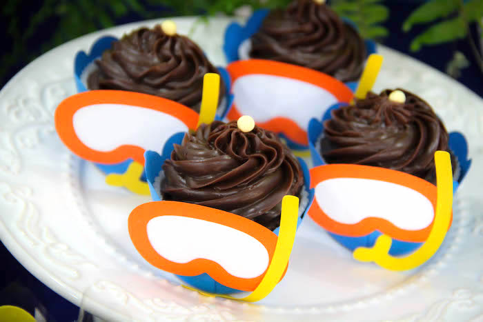 Snorkel cupcakes from a Yellow Submarine Ocean Birthday Party on Kara's Party Ideas | KarasPartyIdeas.com (22)