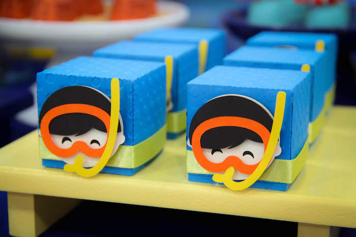 Snorkeler favor boxes from a Yellow Submarine Ocean Birthday Party on Kara's Party Ideas | KarasPartyIdeas.com (19)