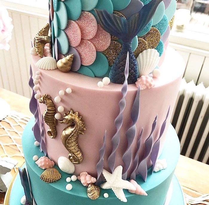 Cake from a Seaside Mermaid Birthday Party on Kara's Party Ideas | KarasPartyIdeas.com (19)
