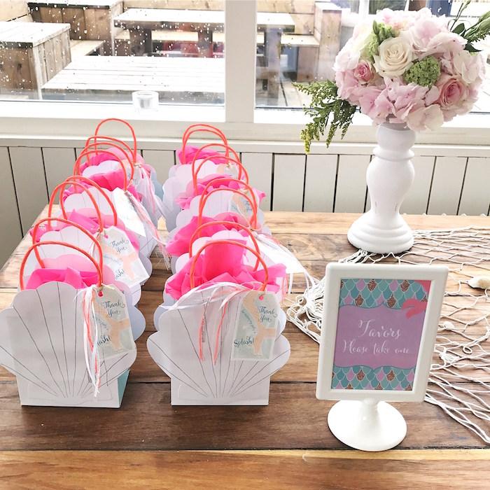 Seashell gift bags from a Seaside Mermaid Birthday Party on Kara's Party Ideas | KarasPartyIdeas.com (5)