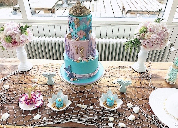 Mermaid Cake Table from a Seaside Mermaid Birthday Party on Kara's Party Ideas | KarasPartyIdeas.com (15)