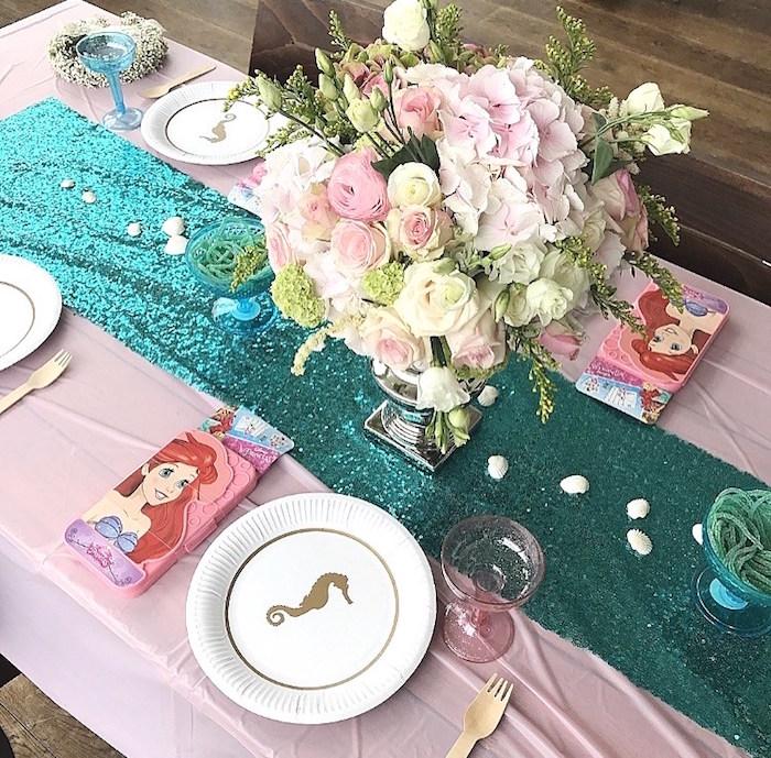 Guest table from a Seaside Mermaid Birthday Party on Kara's Party Ideas | KarasPartyIdeas.com (14)
