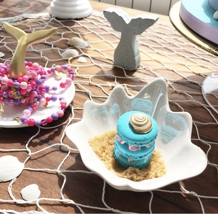 Seashell macarons from a Seaside Mermaid Birthday Party on Kara's Party Ideas | KarasPartyIdeas.com (13)