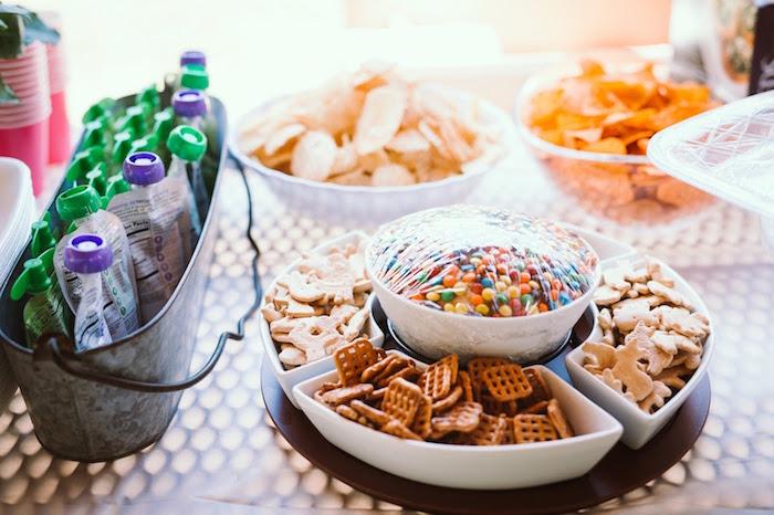 Food & snack table from a 1st Birthday Garden Party on Kara's Party Ideas | KarasPartyIdeas.com (10)
