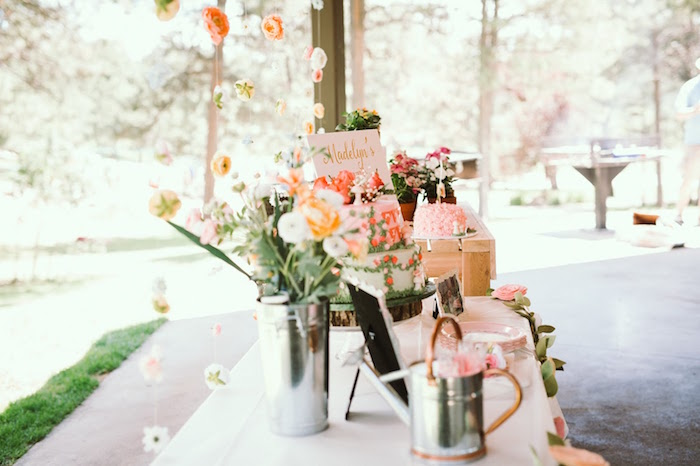Sweet tablescape from a 1st Birthday Garden Party on Kara's Party Ideas | KarasPartyIdeas.com (7)