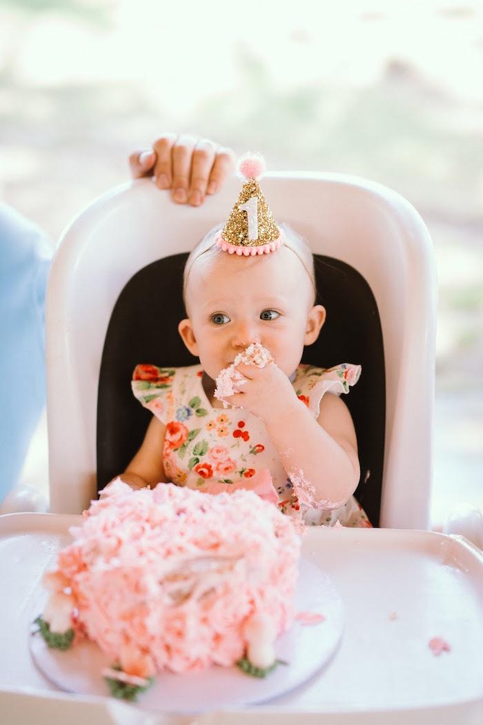 Smash Cake from a 1st Birthday Garden Party on Kara's Party Ideas | KarasPartyIdeas.com (6)