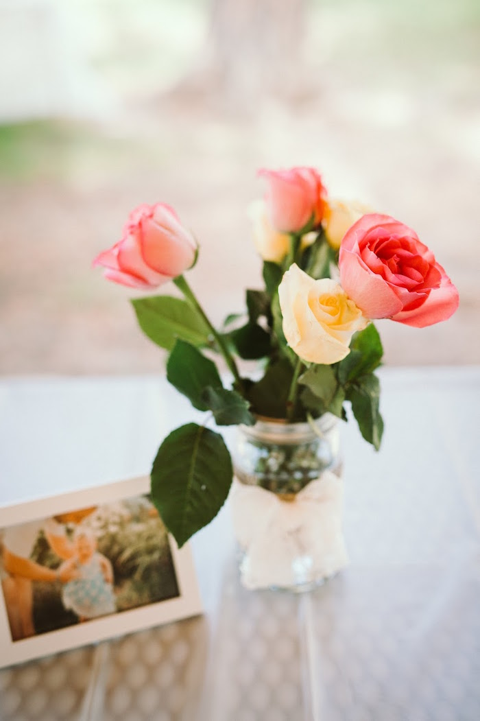 Vase of roses from a 1st Birthday Garden Party on Kara's Party Ideas | KarasPartyIdeas.com (19)