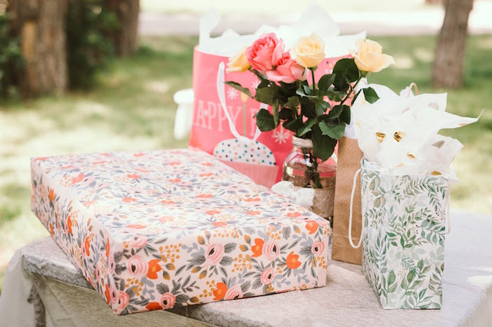 Gift table from a 1st Birthday Garden Party on Kara's Party Ideas | KarasPartyIdeas.com (17)