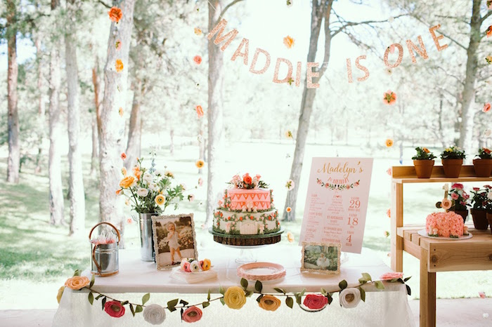 Cake table from a 1st Birthday Garden Party on Kara's Party Ideas | KarasPartyIdeas.com (16)
