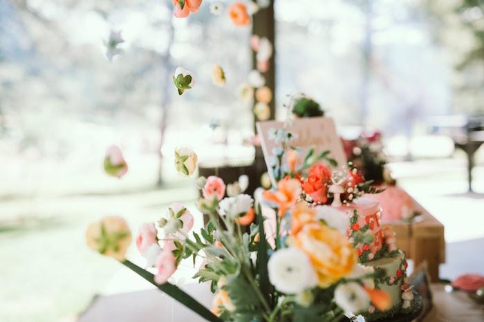 Flower garlands + bunting from a 1st Birthday Garden Party on Kara's Party Ideas | KarasPartyIdeas.com (15)