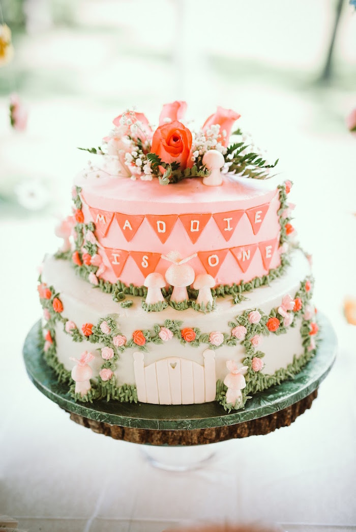 Floral Garden Cake from a 1st Birthday Garden Party on Kara's Party Ideas | KarasPartyIdeas.com (13)
