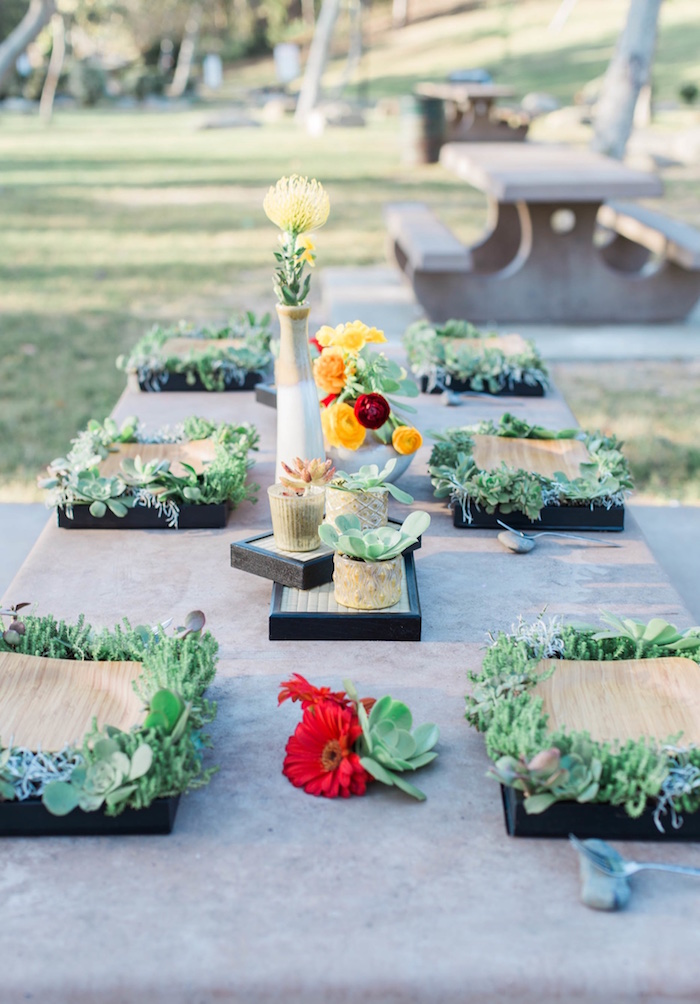 "Living guest tablescape from an ""Au Naturel"" Outdoor Bridal Shower on Kara's Party Ideas 