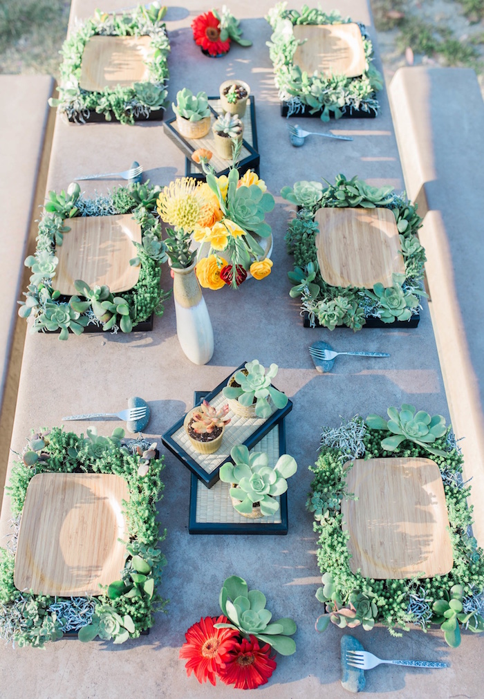 "Guest tabletop from an ""Au Naturel"" Outdoor Bridal Shower on Kara's Party Ideas 