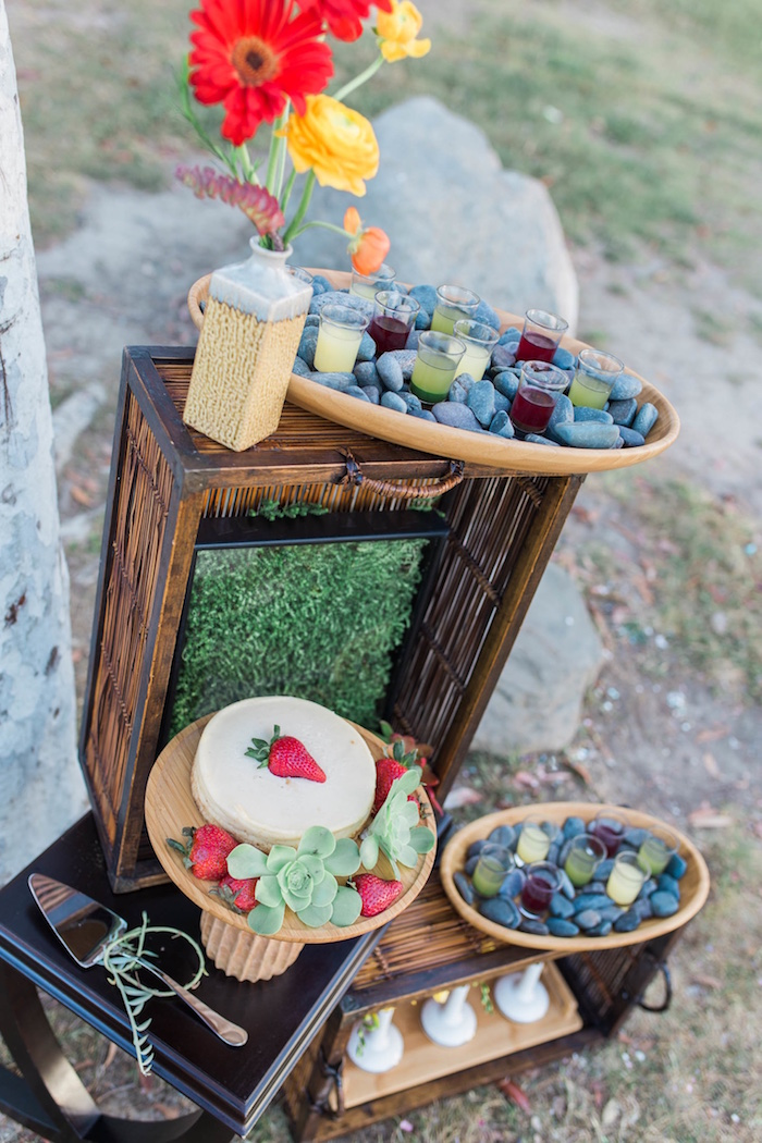 "Cake table from an ""Au Naturel"" Outdoor Bridal Shower on Kara's Party Ideas 