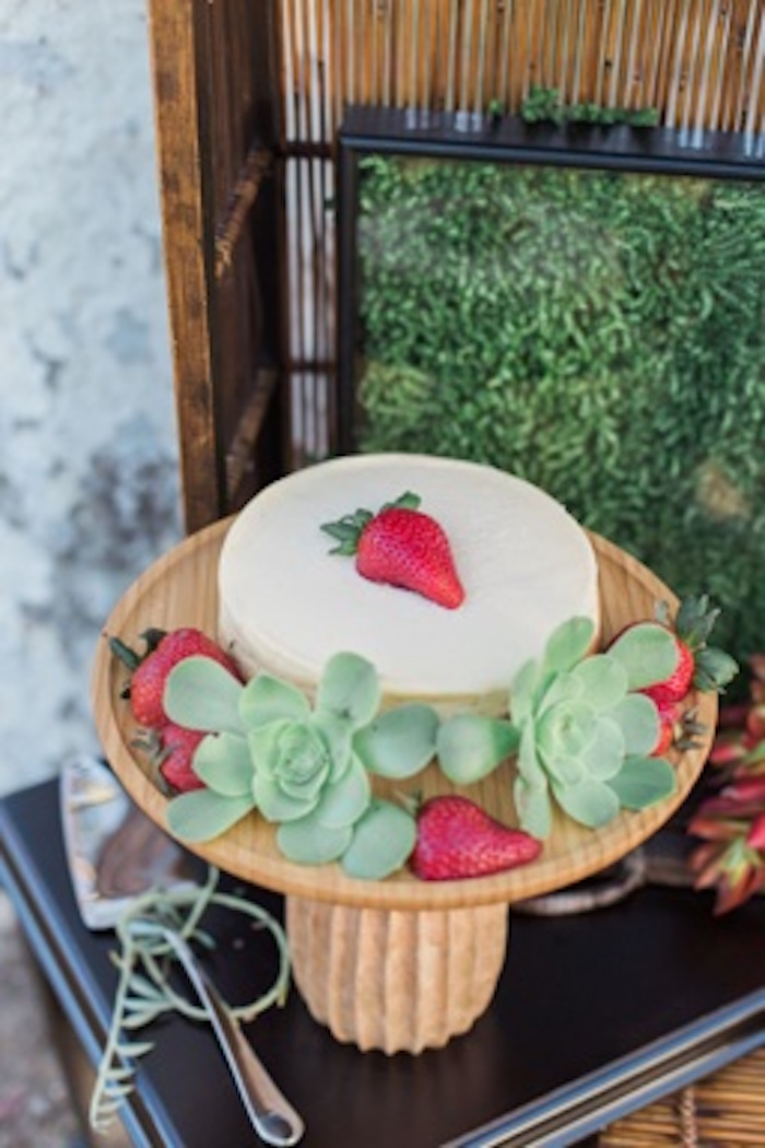 "Cake adorned with strawberries and succulents from an ""Au Naturel"" Outdoor Bridal Shower on Kara's Party Ideas 