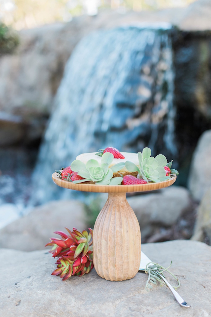 "Cake pedestal from an ""Au Naturel"" Outdoor Bridal Shower on Kara's Party Ideas 