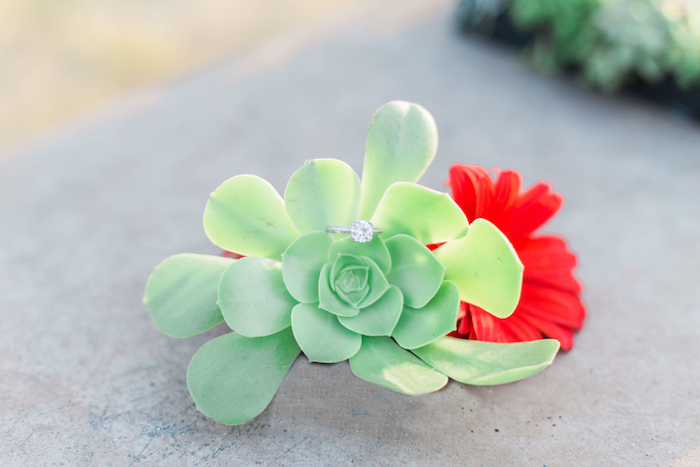 "Blooms with ring from an ""Au Naturel"" Outdoor Bridal Shower on Kara's Party Ideas 