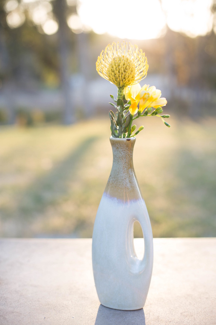 "Floral centerpiece from an ""Au Naturel"" Outdoor Bridal Shower on Kara's Party Ideas 