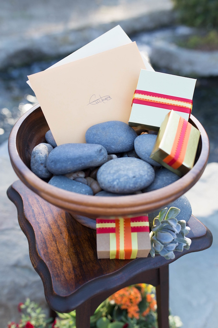 "Rock gift tray from an ""Au Naturel"" Outdoor Bridal Shower on Kara's Party Ideas 