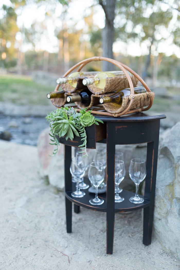"Drink stand from an ""Au Naturel"" Outdoor Bridal Shower on Kara's Party Ideas 