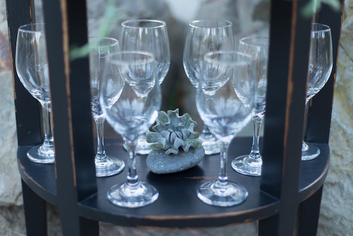 "Wine glasses from an ""Au Naturel"" Outdoor Bridal Shower on Kara's Party Ideas 