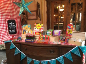 "Candy table from a ""Barn"" Mitzvah - A Barnyard Themed Bat MItzvah on Kara's Party Ideas 