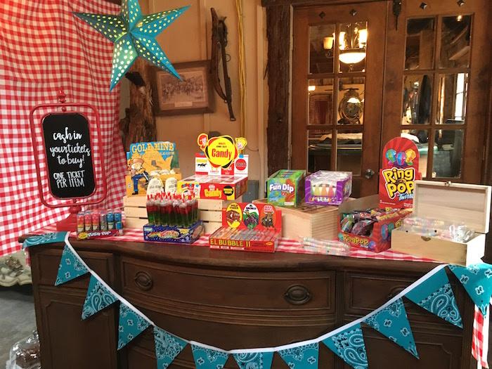 "Candy table from a ""Barn"" Mitzvah - A Barnyard Themed Bat MItzvah on Kara's Party Ideas | KarasPartyIdeas.com (18)"