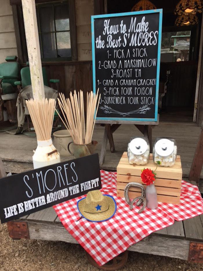 "S'mores table from a ""Barn"" Mitzvah - A Barnyard Themed Bat MItzvah on Kara's Party Ideas | KarasPartyIdeas.com (15)"
