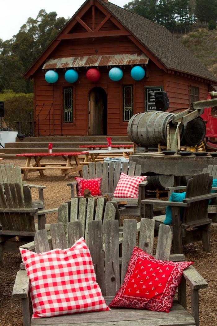 "Rustic wooden benches from a ""Barn"" Mitzvah - A Barnyard Themed Bat MItzvah on Kara's Party Ideas | KarasPartyIdeas.com (12)"