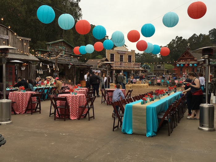 """Guest tables + partyscape from a """"Barn"""" Mitzvah - A Barnyard Themed Bat MItzvah on Kara's Party Ideas 