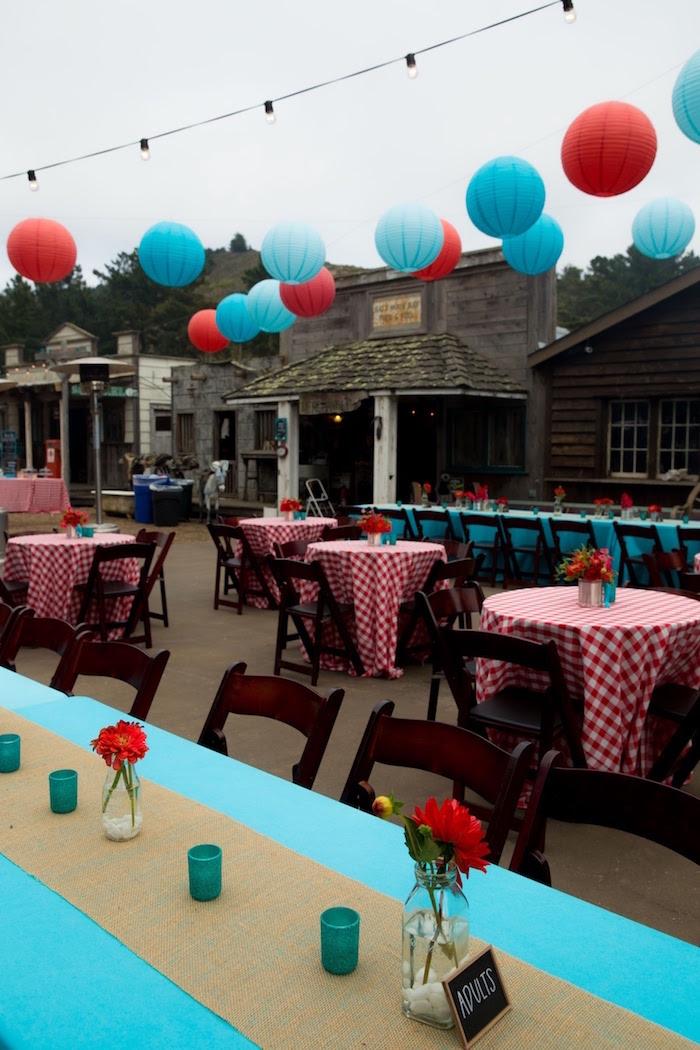 "Guest tables from a ""Barn"" Mitzvah - A Barnyard Themed Bat MItzvah on Kara's Party Ideas | KarasPartyIdeas.com (11)"
