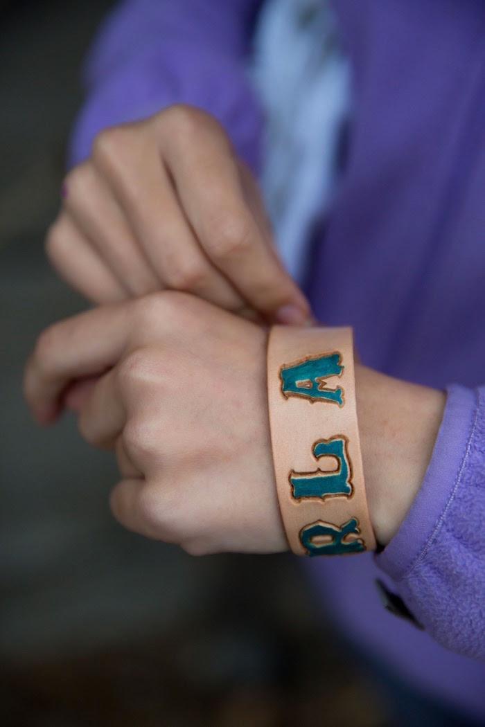 "Leather bracelet from a ""Barn"" Mitzvah - A Barnyard Themed Bat MItzvah on Kara's Party Ideas | KarasPartyIdeas.com (6)"