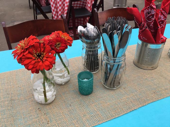 "Guest table from a ""Barn"" Mitzvah - A Barnyard Themed Bat MItzvah on Kara's Party Ideas | KarasPartyIdeas.com (26)"
