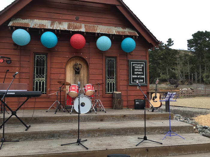 """Band stage from a """"Barn"""" Mitzvah - A Barnyard Themed Bat MItzvah on Kara's Party Ideas 