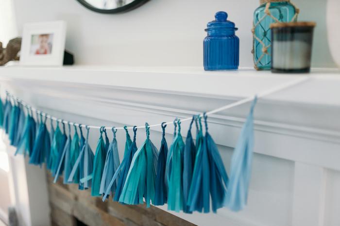 """Blue tassel garland from a """"Chomp"""" Shark Themed Birthday Party on Kara's Party Ideas   KarasPartyIdeas.com (26)"""