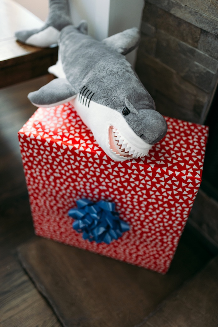 "Plush shark decoration from a ""Chomp"" Shark Themed Birthday Party on Kara's Party Ideas 