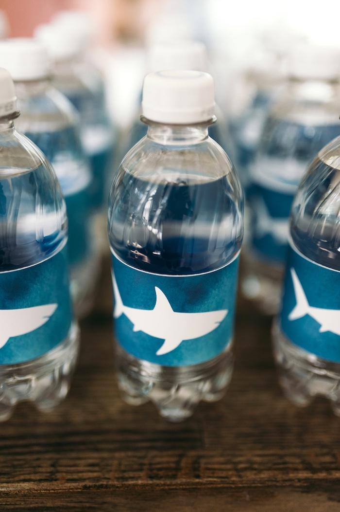 """Shark drink labels from a """"Chomp"""" Shark Themed Birthday Party on Kara's Party Ideas   KarasPartyIdeas.com (22)"""