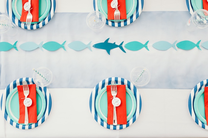 "Guest tabletop from a ""Chomp"" Shark Themed Birthday Party on Kara's Party Ideas 