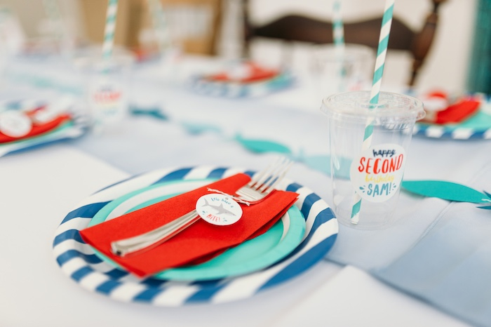 "Place setting from a ""Chomp"" Shark Themed Birthday Party on Kara's Party Ideas 