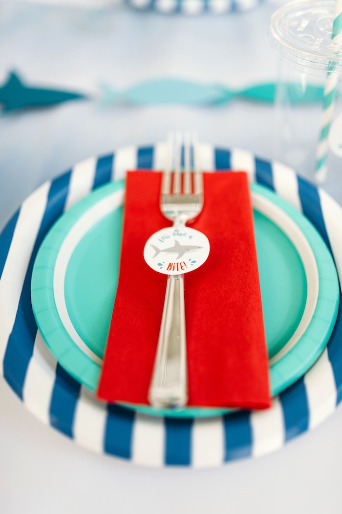"Red, aqua and blue place setting from a ""Chomp"" Shark Themed Birthday Party on Kara's Party Ideas 