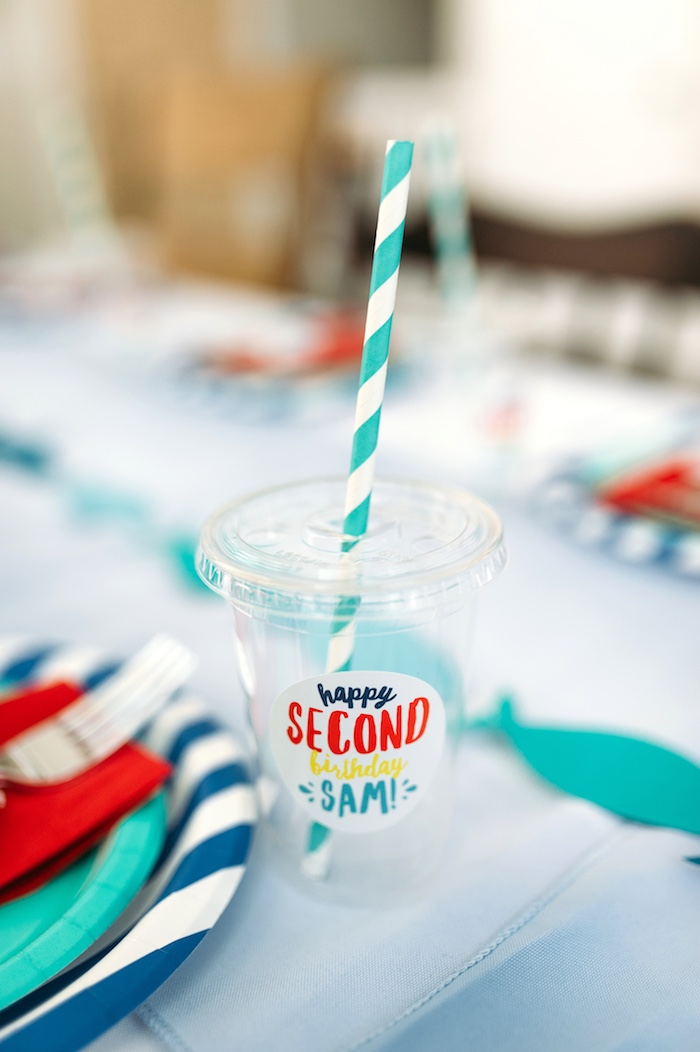 "Drink cup from a ""Chomp"" Shark Themed Birthday Party on Kara's Party Ideas 