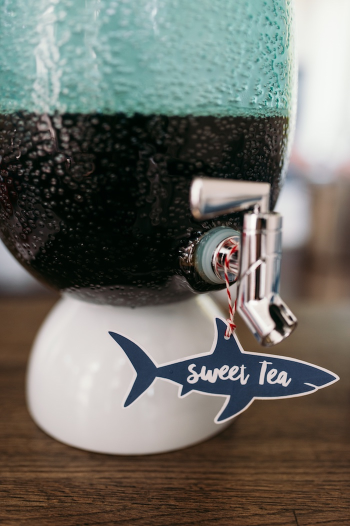 "Shark drink label from a ""Chomp"" Shark Themed Birthday Party on Kara's Party Ideas 